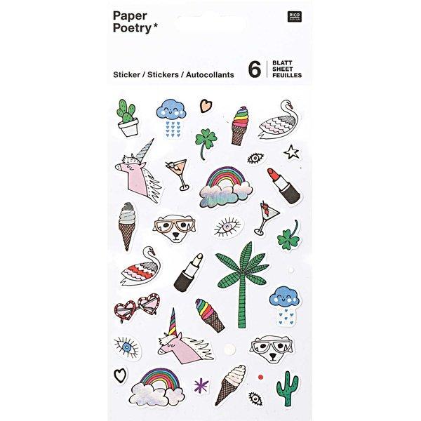 Paper Poetry Sticker Regenbogen 6 Blatt