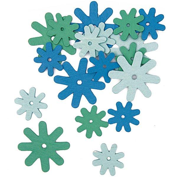 Rico Design Blüten aus Holz blau-aqua 18 Stück