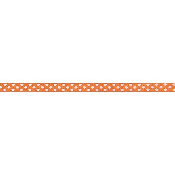 Rico Design Ribbons gewebte Pünktchen orange-weiß 2m
