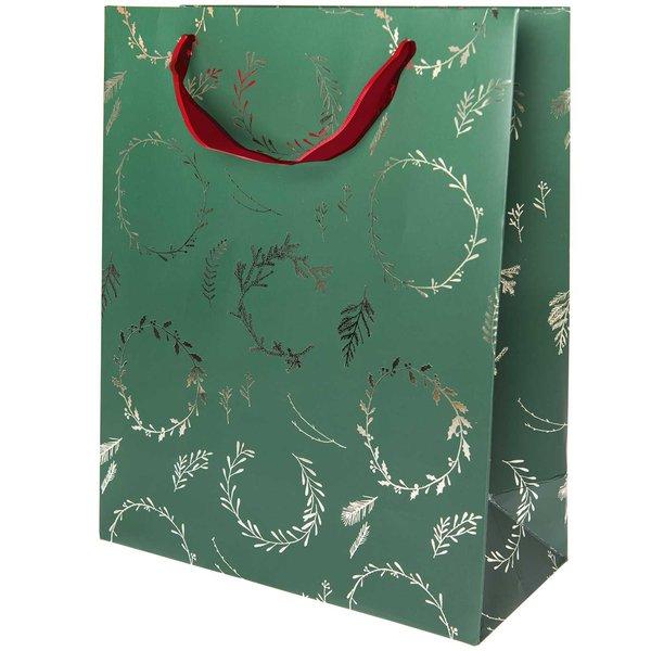 Paper Poetry Geschenktüte Nostalgic Christmas Kränze grün 26x32x12cm