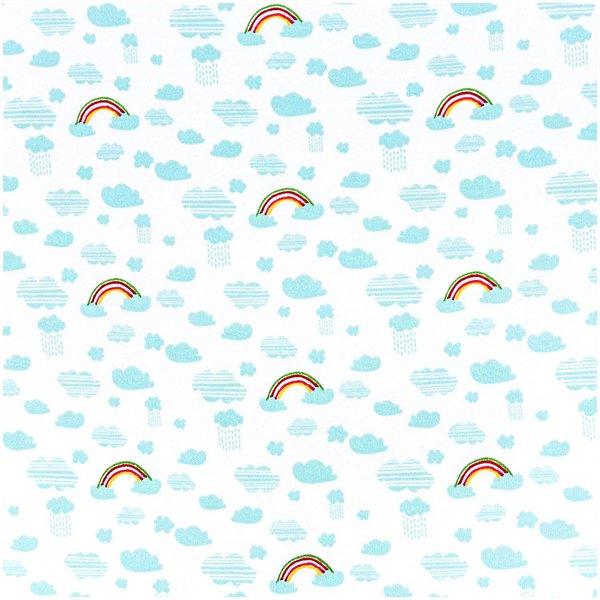 Rico Design Stoff Jersey weiß-Regenbogen 145cm