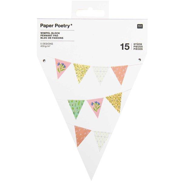 Paper Poetry Wimpel-Block Blumen 13x14,7cm 15 Stück
