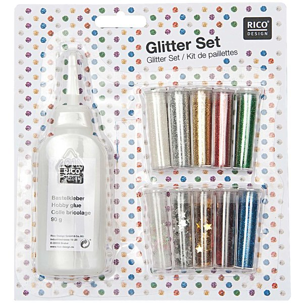 Rico Design Glitter Set 11teilig mit Kleber