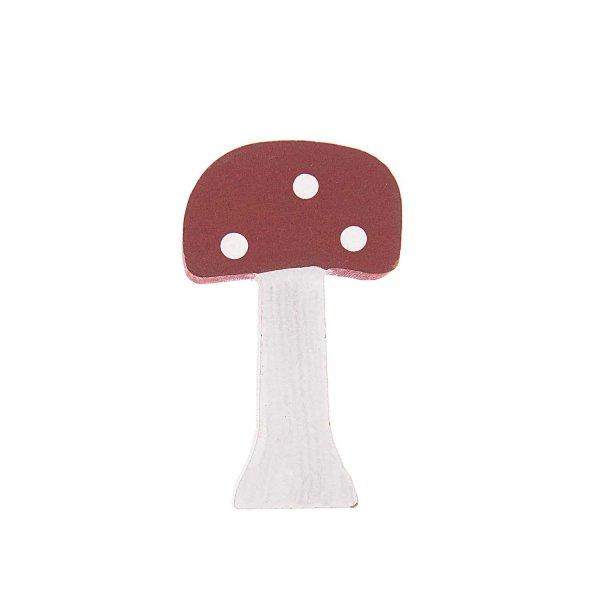 Pilz aus Holz bordeaux-weiß 8,8x5cm