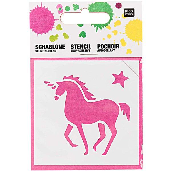 Rico Design Schablone Einhorn 7,5x7,5cm selbstklebend