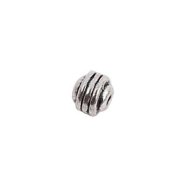 Rico Design Perle gestreift silber 5mm 30 Stück