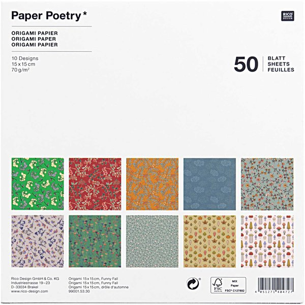 Paper Poetry Origami Funny Fall 15x15cm 50 Blatt