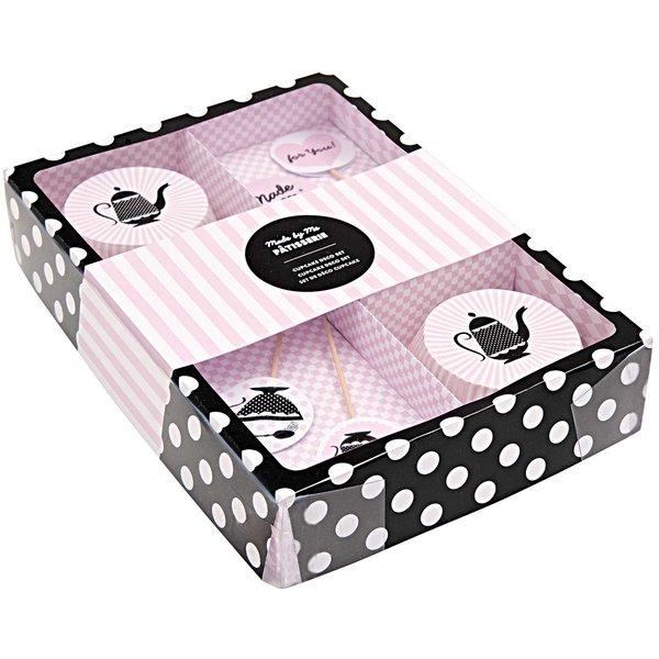 Rico Design Cupcake Deko Set schwarz-weiß 48teilig