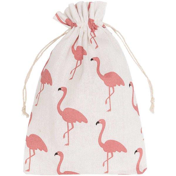 Beutel Flamingo weiß-rosa 30x20cm