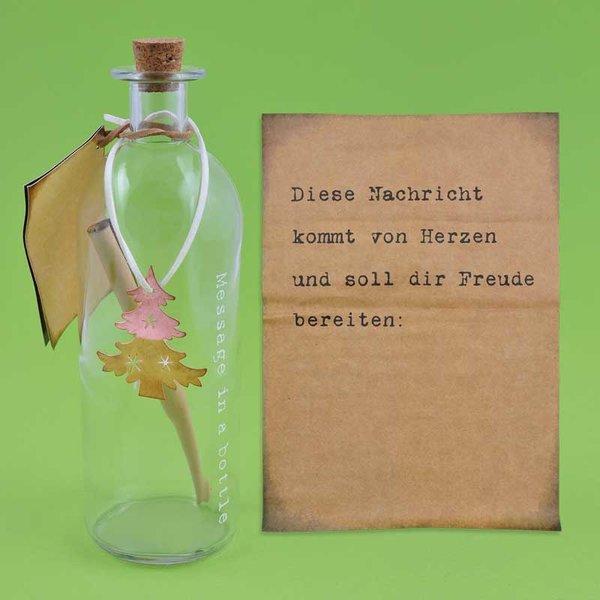 """Flasche """"Message in a bottle"""" Weihnachten 21,5x7cm"""