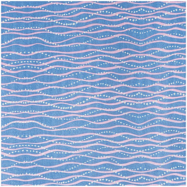 Rico Design Musselin-Druckstoff Mermaid Wellen blau Hot Foil 140cm
