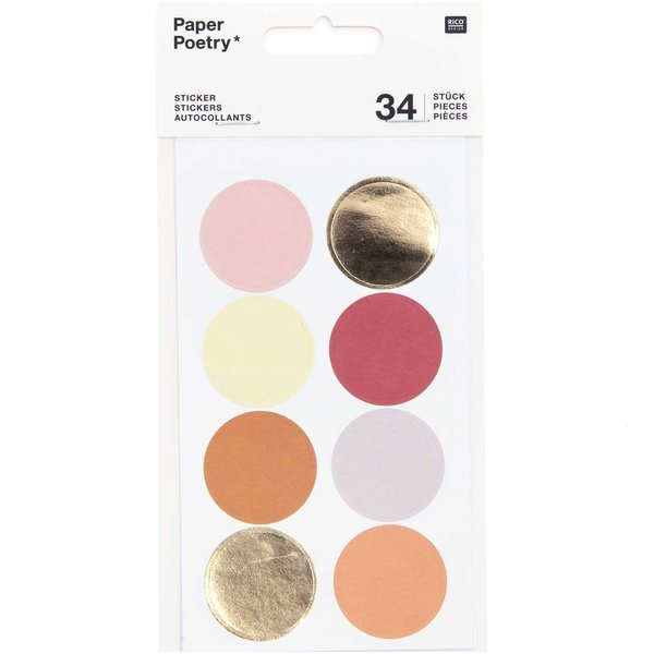 Paper Poetry Sticker Punkte & Streifen orange 4 Blatt