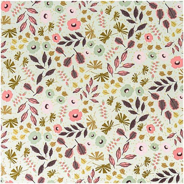Rico Design Stoff Blumen und Blätter mint-gold 140cm