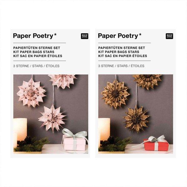Paper Poetry Bastelset Papiertüten-Sterne Jolly Christmas klein