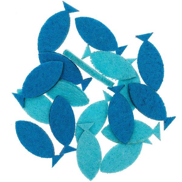 Filzstreu Fisch blau 3,4cm 18 Stück