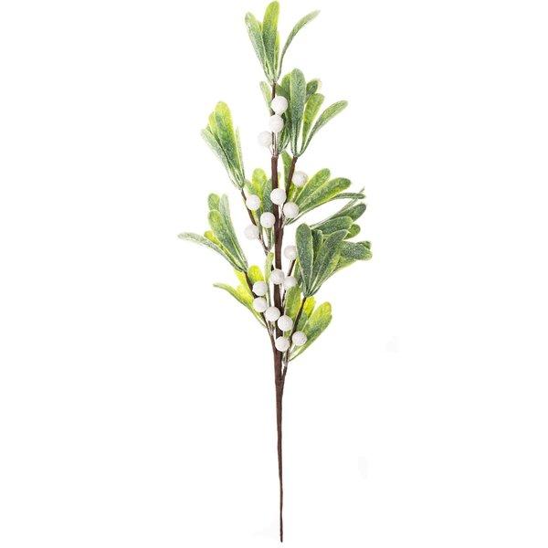 Beerenzweig mit Blättern weiß 45cm