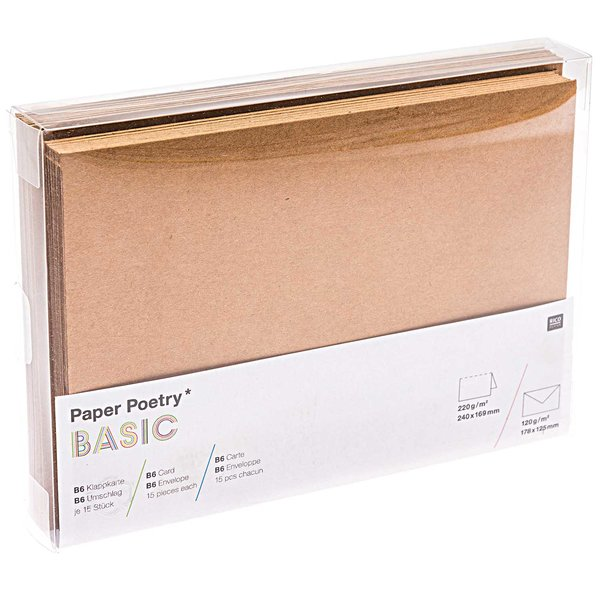 Paper Poetry Kartenset Kraftpapier B6/B6 30teilig