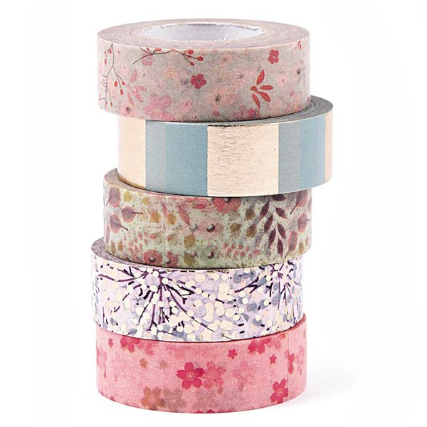 Paper Poetry Tape Set  Bouquet Sauvage 1,5cm 10m 5 Stück