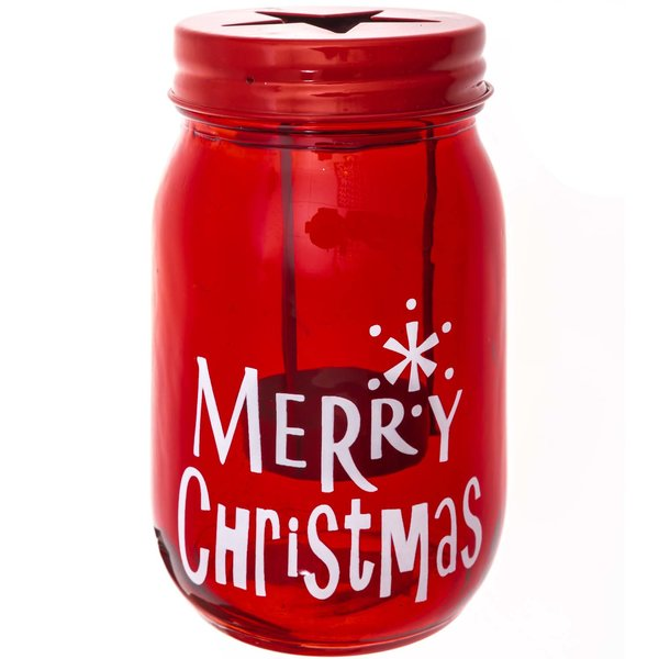 Teelichthalter Merry Christmas rot 14x7,5cm