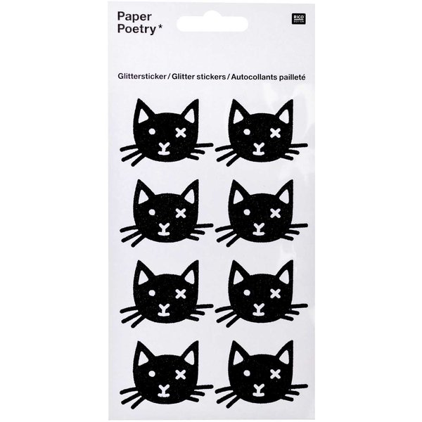 Paper Poetry Glittersticker schwarze Katzen