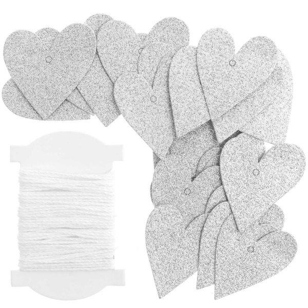 Paper Poetry Papieranhänger Herzen S Glitter silber 24 Stück