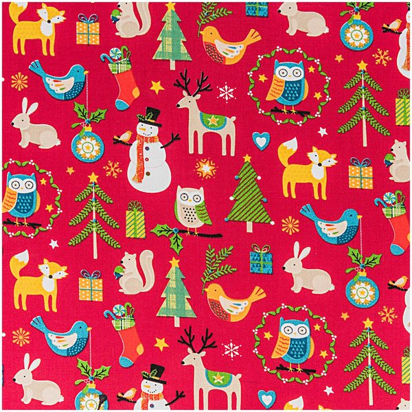 Rico Design Stoff Weihnachten Tiermotive rot 160cm