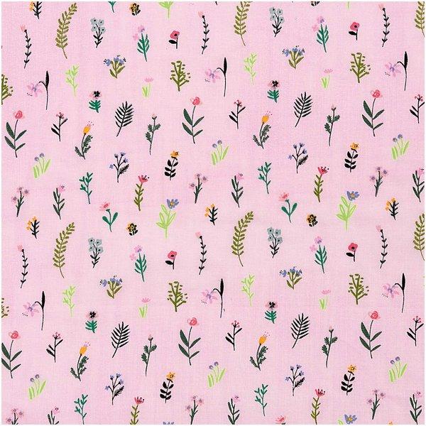 Rico Design Musselin-Druckstoff Bunny Hop Streublumen pink-neon 140cm