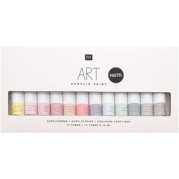 Rico Design ART Künstler Acrylfarben-Set Pastell 12x12ml