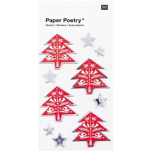 Paper Poetry 3D Sticker Tannen und Sterne Hot Foil