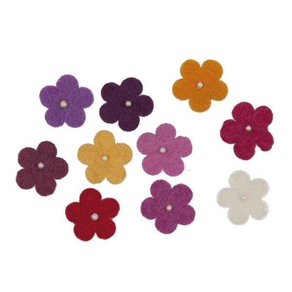 Rico Design Filzblüten mit Perlen 10 Stück