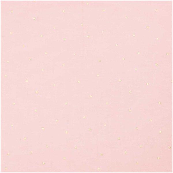 Rico Design Druckstoff Nature Matters Punkte rosa-gold 50x140cm