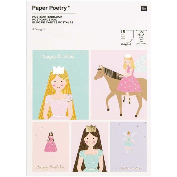 Paper Poetry Postkartenblock Prinzessin 400g/m² 15 Stück