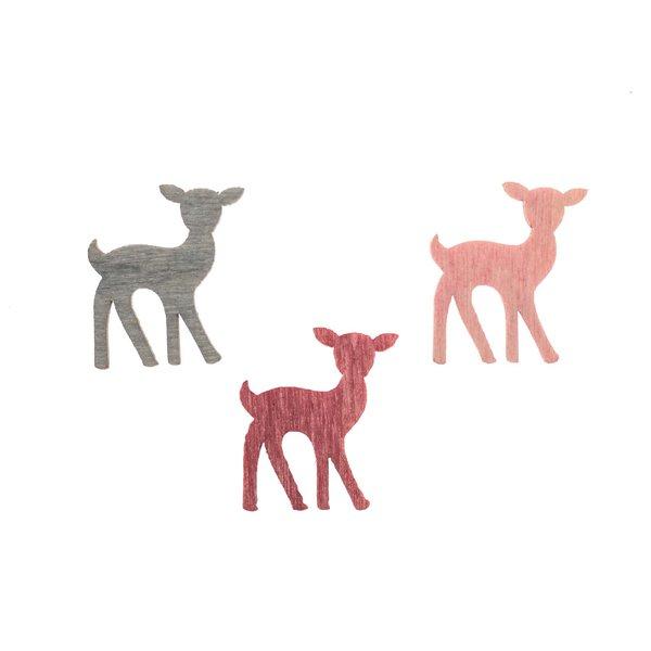 Rehstreu pink-rosa-grau 2cm 24 Stück