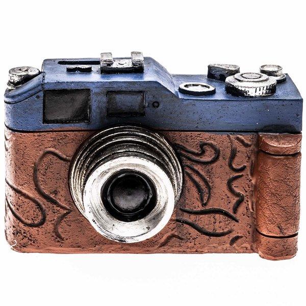 Spardose Kamera Nostalgie blau-braun 11x7cm