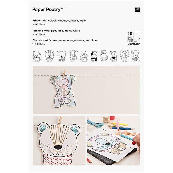 Paper Poetry Prickelblock Tiere weiß 21x14,8cm 10 Seiten