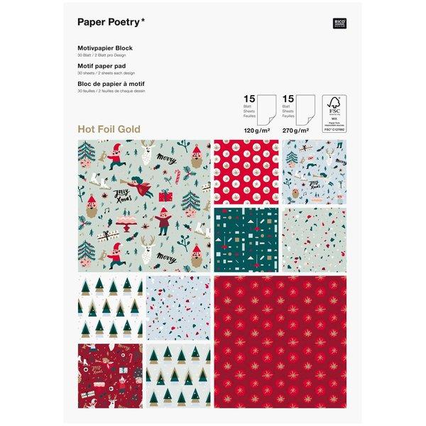 Paper Poetry Motivpapierblock Jolly Christmas Classic 30 Blatt