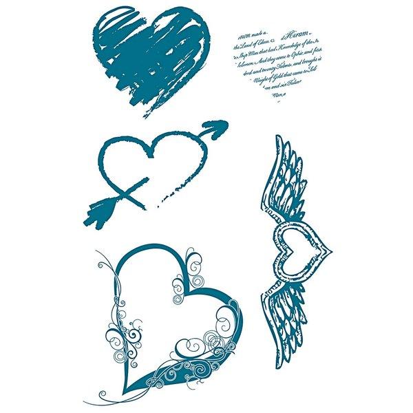 Paper Poetry Silikonstempel Herzen 5 Motive