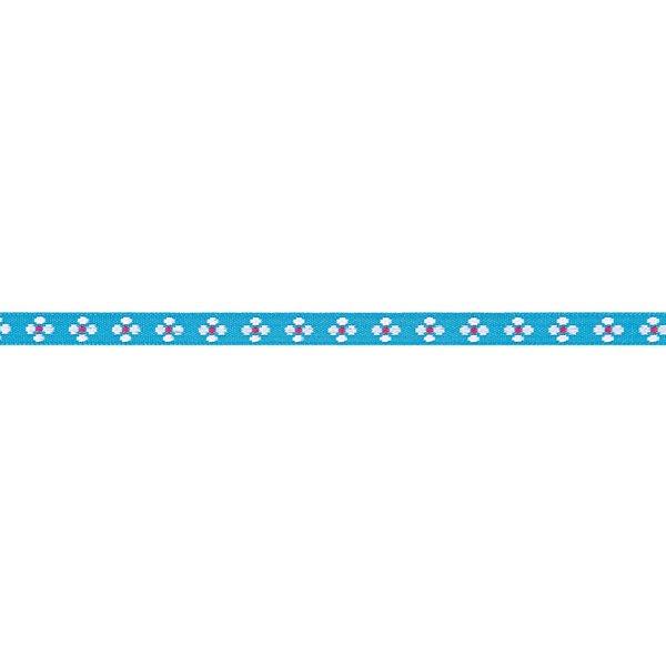 Rico Design Ribbon gewebte Blumen türkis-weiß 2m