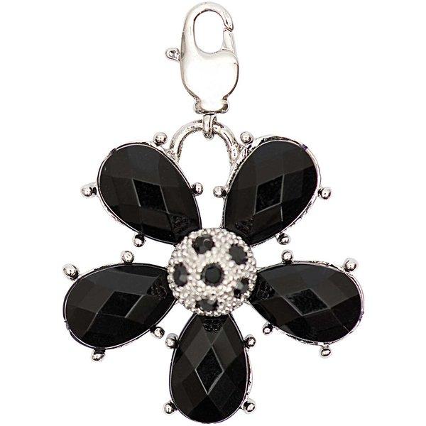 Jewellery Made by Me Big Charm Blume mit Strass schwarz 31x31mm