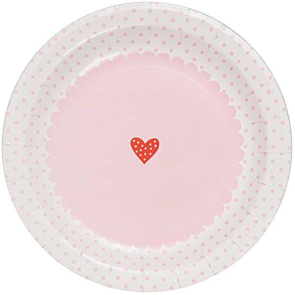 Rico Design Pappteller rosa-weiß 23cm 12 Stück