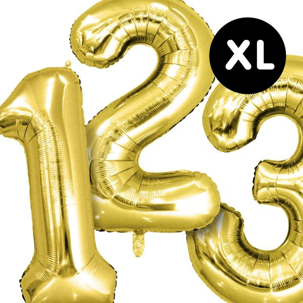 YEY! Let's Party Folienballon Zahl gold 86cm
