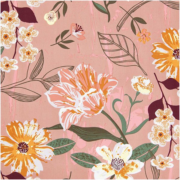 Rico Design Druckstoff Nature Matters Blumen mauve 50x140cm