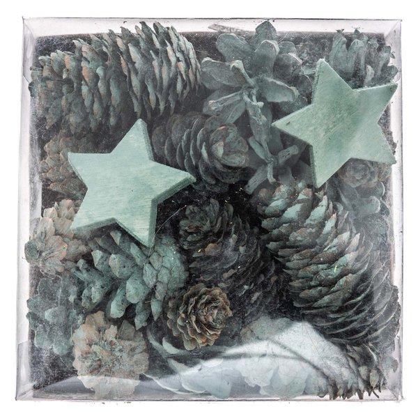 Weihnachtsdeko Sterne und Zapfen natur-blaugrün