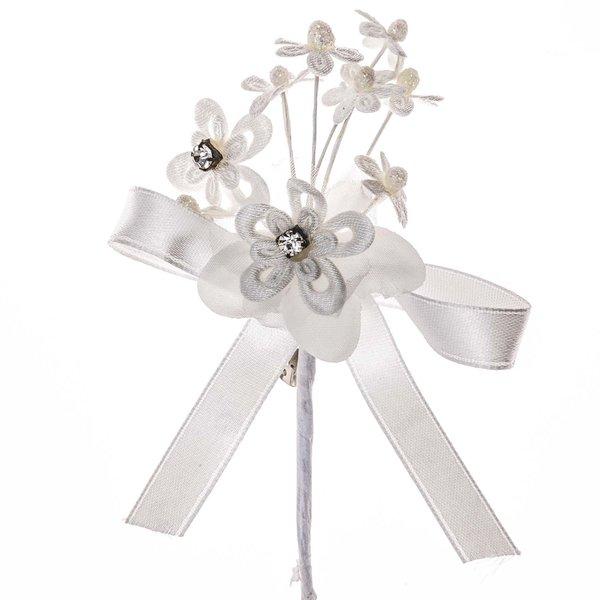 Anstecker Blütentuff mit Strass und Schleife creme 11x7cm