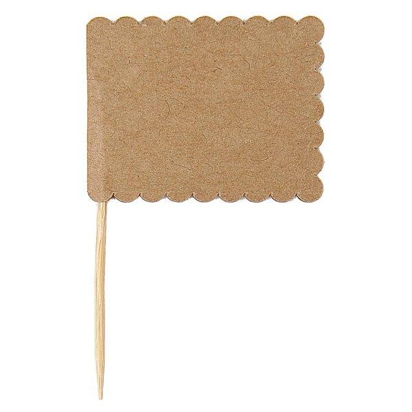 Paper Poetry Papierfähnchen braun 7,5x4,5cm 10 Stück