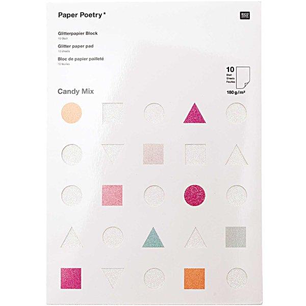 Paper Poetry Glitterpapierblock Candy Mix DIN A4 10 Blatt