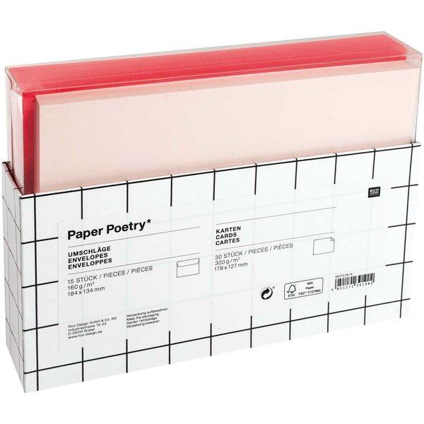 Paper Poetry Kartenset rot-rosa 46teilig