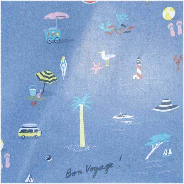 Rico Design Druckstoff Bon Voyage blau 25x70cm beschichtet