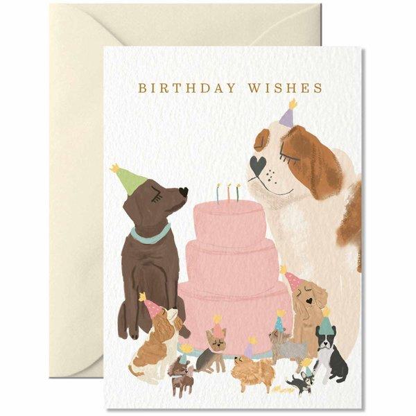 Nelly Castro Midi-Grußkarte Birthday Wishes with Dogs 7,4x10,5cm