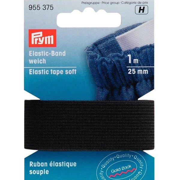 Prym Elastic Band Gummi weich schwarz 25mm 1m